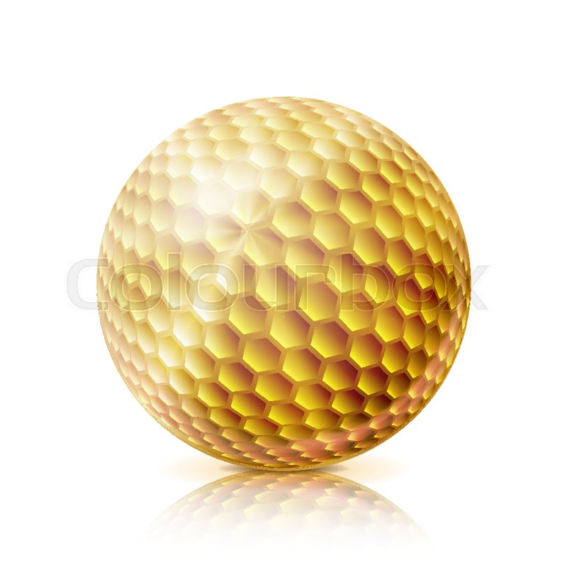 675f2058 Realistic Golf Ball Isolated On White ... | Stock vector | Colourbox