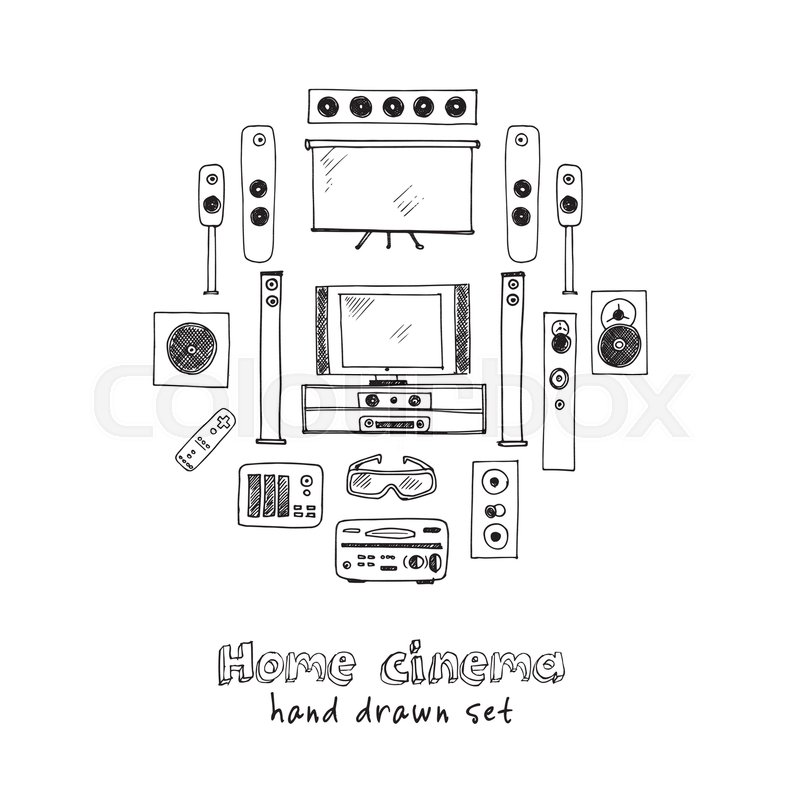 Hand Drawn Doodle Home Cinema Set Vector Illustration Isolated