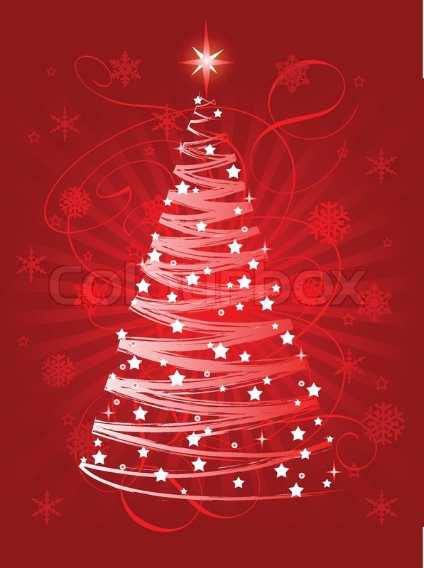 red christmas tree on abstract background stock vector colourbox - Red Christmas Background