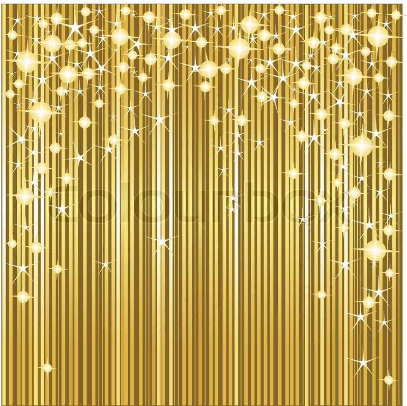 Gold Christmas Background With Stars And Stripes Stock