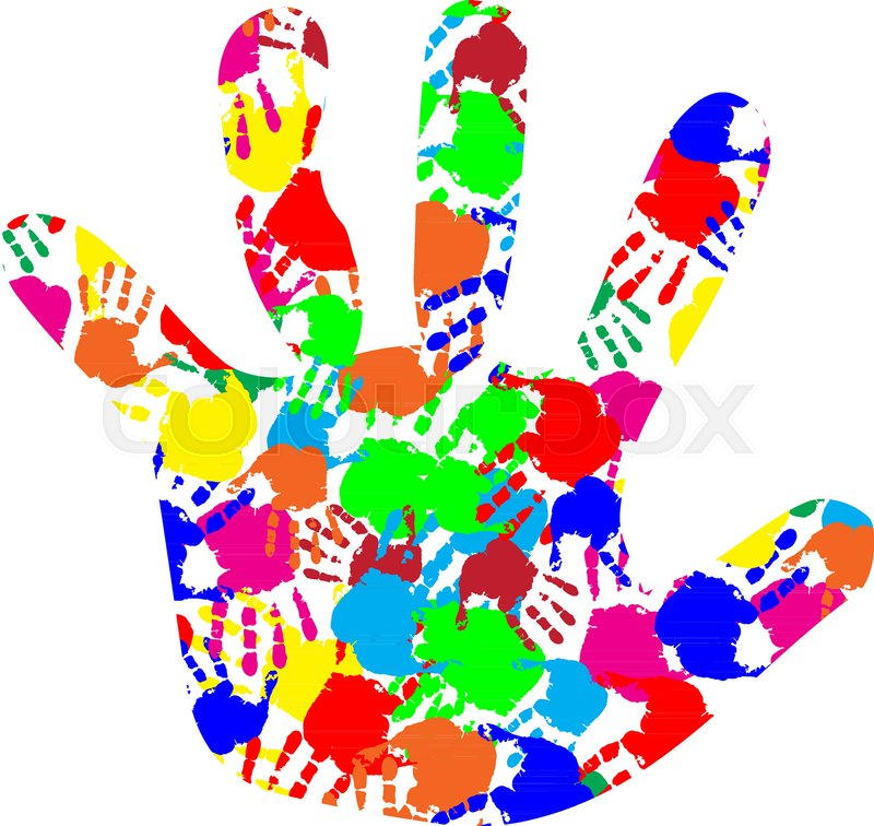 Rainbow Multicolored Silhouette Of Baby Hand With Colorful Hand