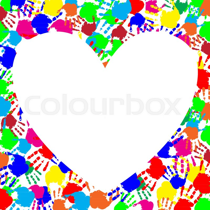 Vibrant rainbow frame with copy space in shape of heart and ...