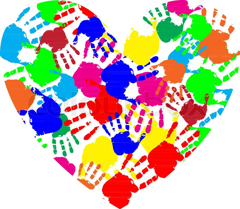 Vibrant Heart Icon Made Of Multicolored Hand Prints Isolated On