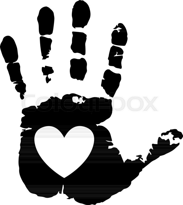 Black Silhouette Of Human Hand Print With Heart Symbol In Open Palm