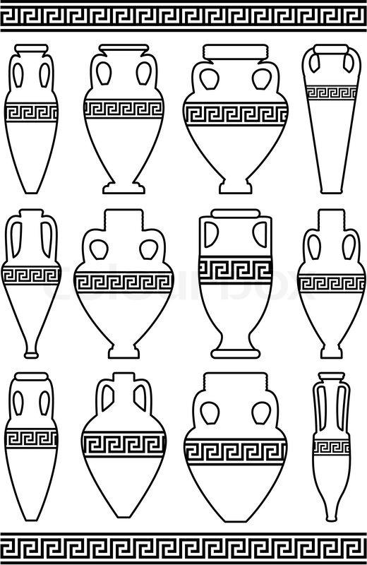 Set von schwarzen konturen wei silhouetten der antiken for Disegno vaso da colorare