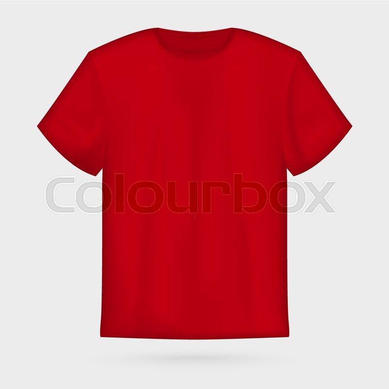 red vector men s t shirt mockup stock vector colourbox
