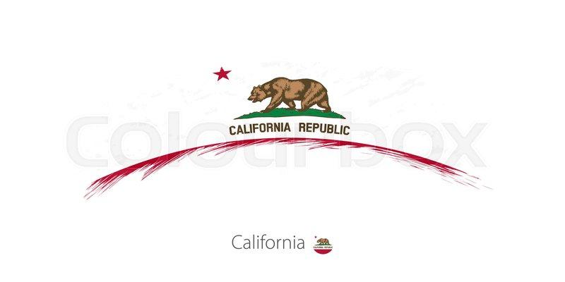 Flag Of California State In Rounded Grunge Brush Stroke Vector Illustration