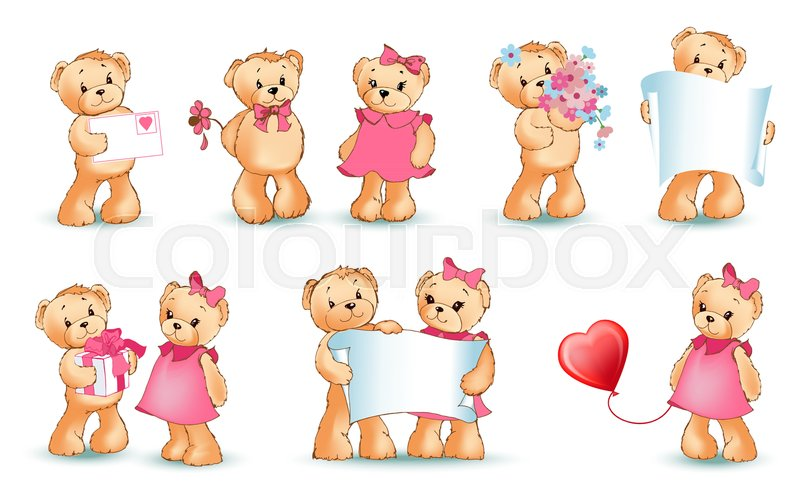 Teddy Bears Collection On Valentines Day Characters With Balloons And Toys Love Letters And Flowers Sheet Of Paper Isolated On Vector Illustration