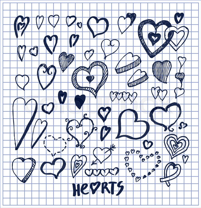 Hearts Hand Drawn Elements Written By Ink Pen On Checkered Sheet Of