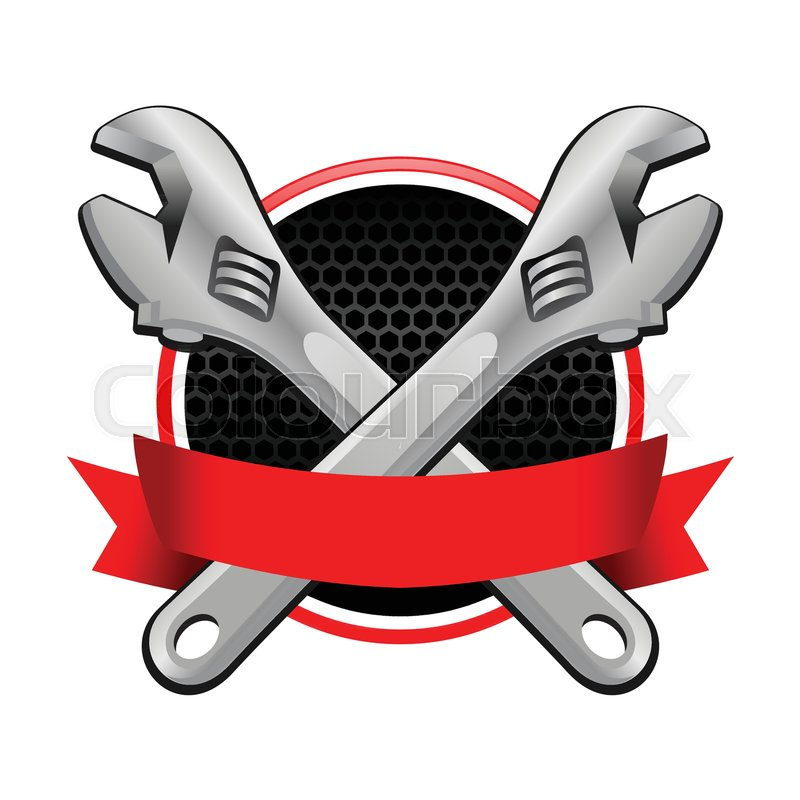 Double Wrench Cross Garage Emblem With Red Colored Ribbon Vector