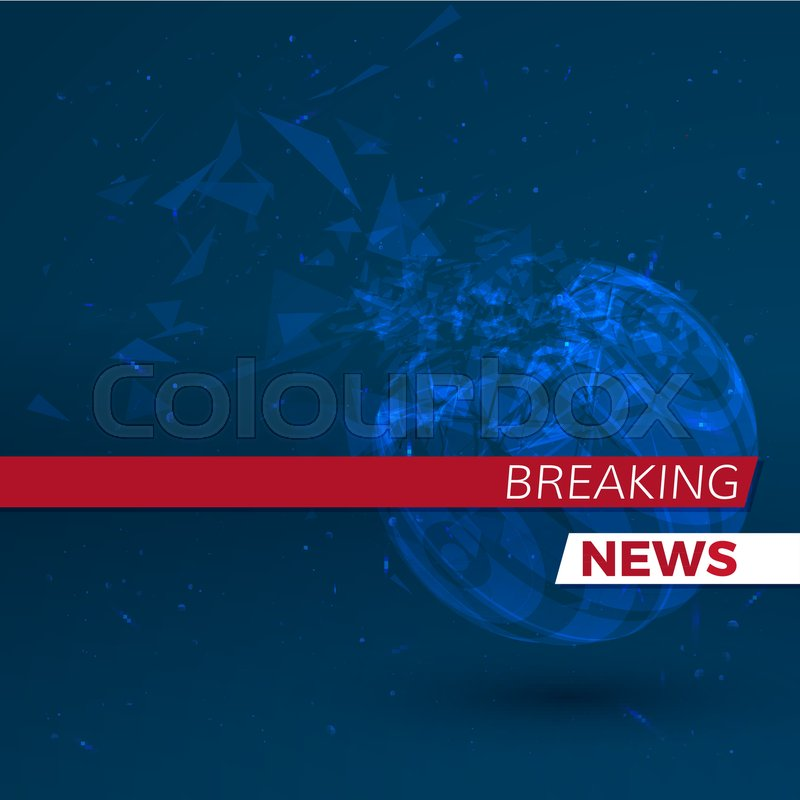 Breaking News Banner Blue Background With Particles Vector Illustration