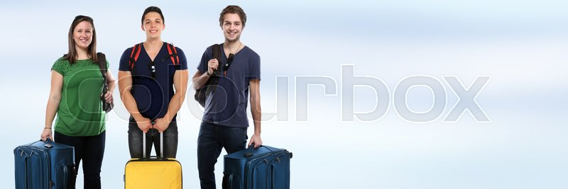 Group of young people vacation holidays luggage copyspace banner bag travel traveling baggage, stock photo