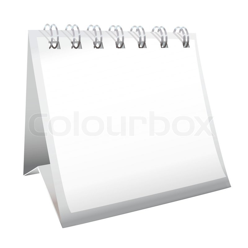 Calendar Pages Vector : White blank calendar with spiral metal bound pages stock