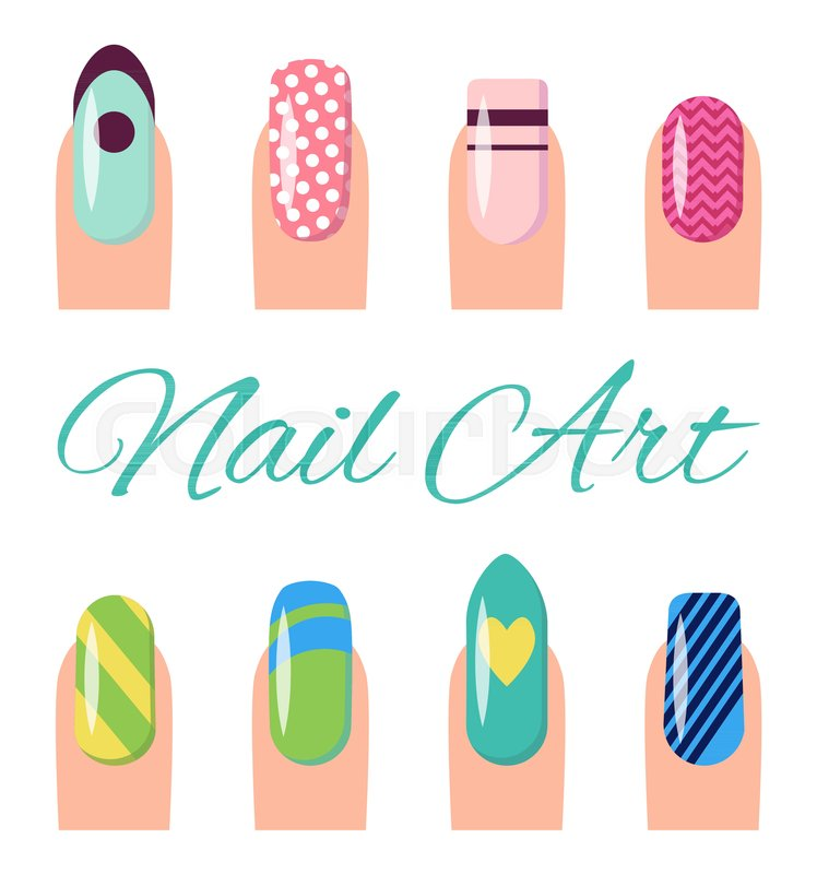 Nail Art Collection Poster With Different Styles And Types Of