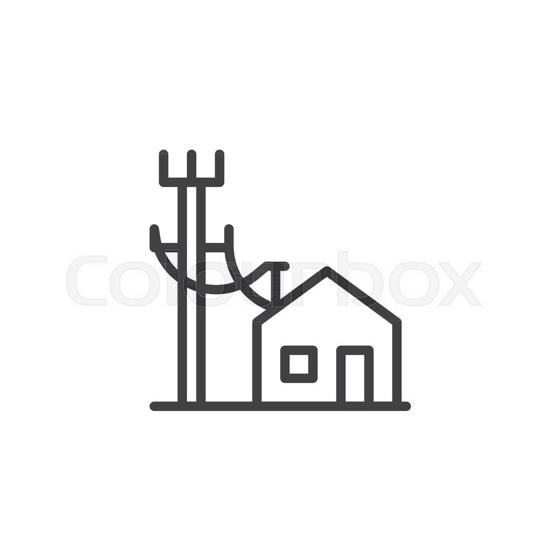 Electric poles line and house line icon, outline vector sign, linear ...