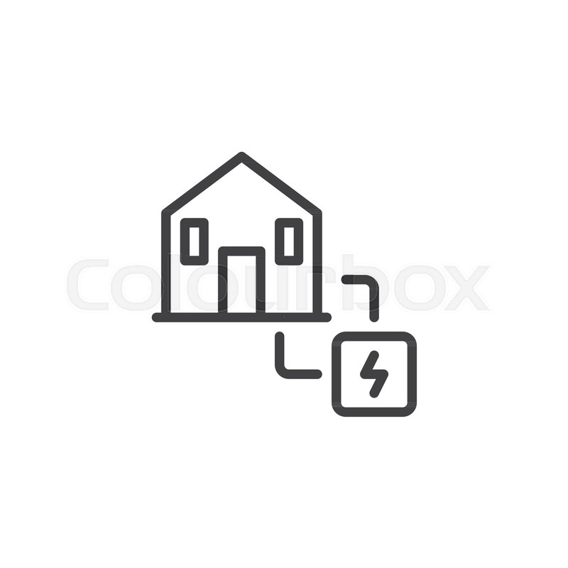 Electric power supply line icon, outline vector sign, linear style ...