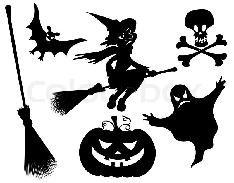 witch pumpkin witches broom skeleton bat skull and ghost