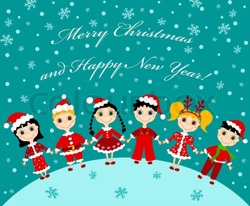 The christmas children card Vector cartoon illustration | Stock ...