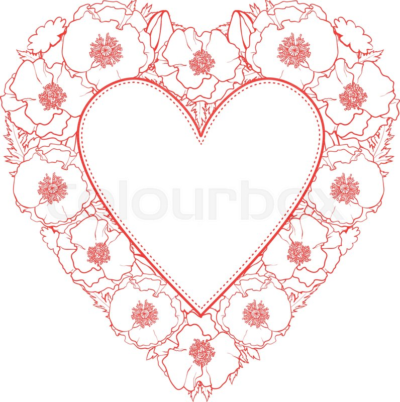 Vector Sketch Illustration Monochrome Heart Shape Frame Template