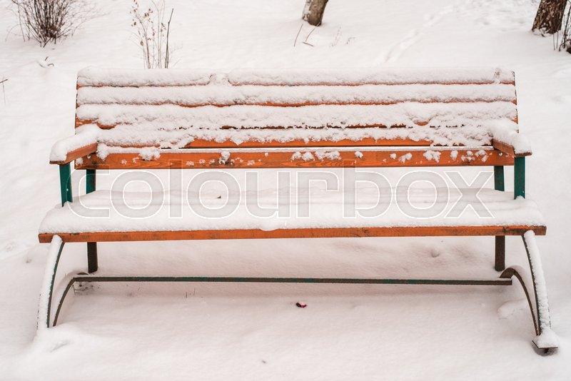 A shop in the park in the winter. Covered with white snow in the cold time of day, stock photo