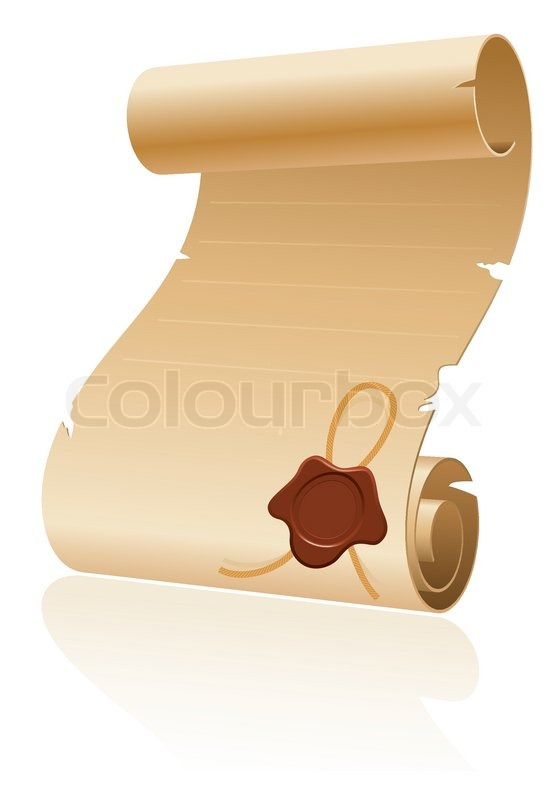 Old scroll paper with sealing wax on white background template for old scroll paper with sealing wax on white background template for design stock vector colourbox stopboris Image collections