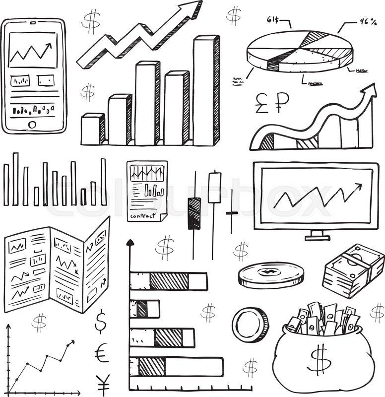 Stock Market Had Drawn Symbols And Icons Stock Vector Colourbox
