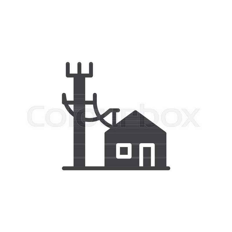 Electric poles line and house icon vector, filled flat sign, solid ...