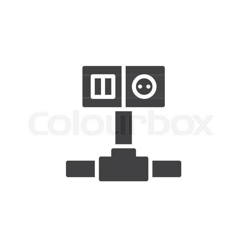 Wiring switch and socket icon vector, filled flat sign, solid ...