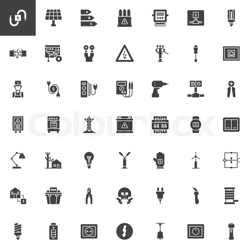 Electrician elements vector icons set, modern solid symbol ...