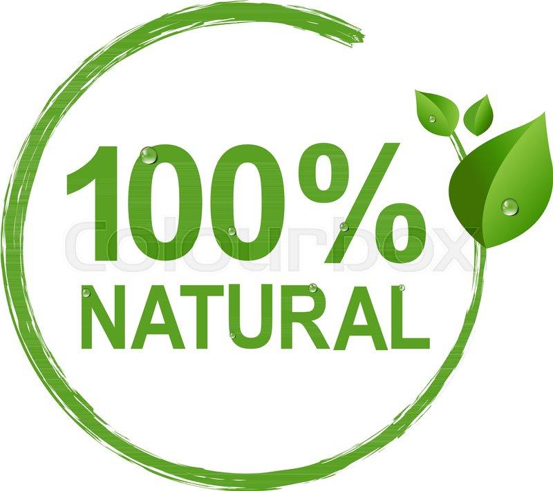 100 Natural Logo Symbol Transparent Background Vector Illustration