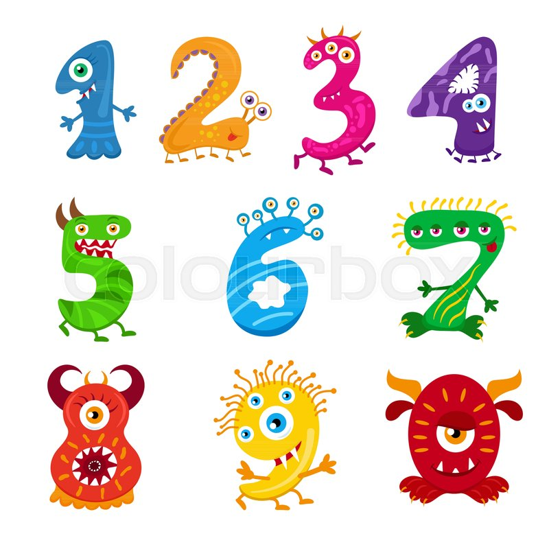 funny cartoon numbers monster set collection isolated fantasy