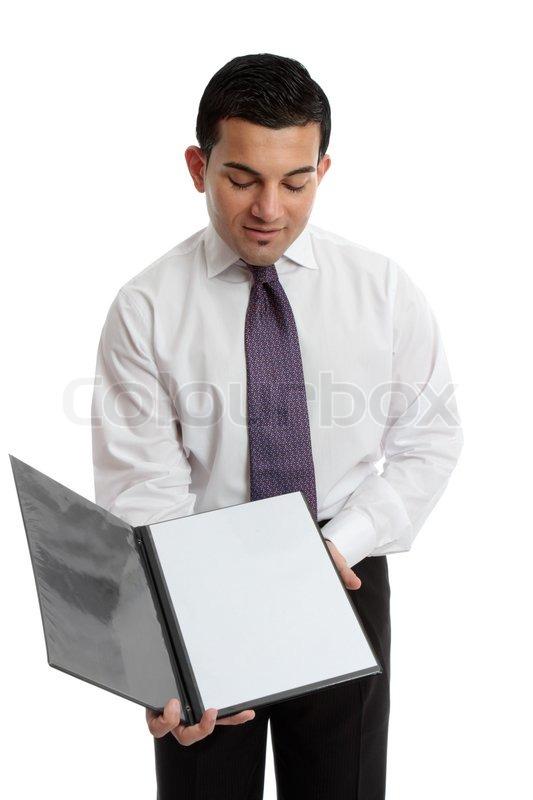 businessman  salesman or waiter holds open a presentation