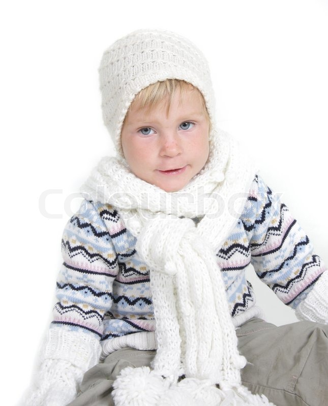 Cute toddler girl in winter clothes Stock