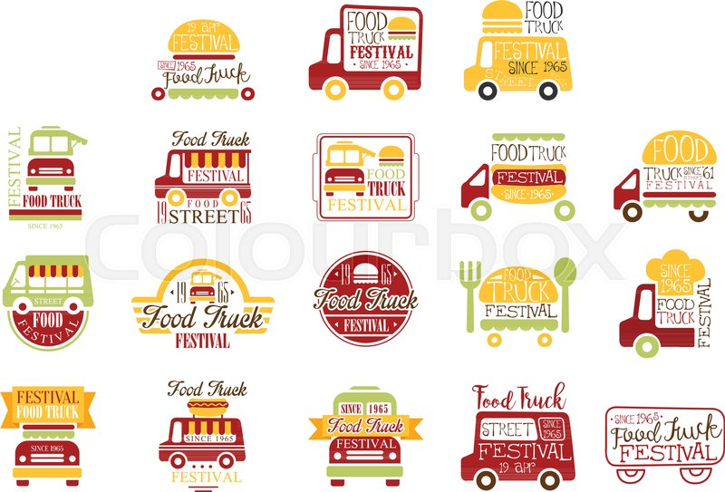 food truck cafe street food promo signs collection of colorful vector design templates with. Black Bedroom Furniture Sets. Home Design Ideas
