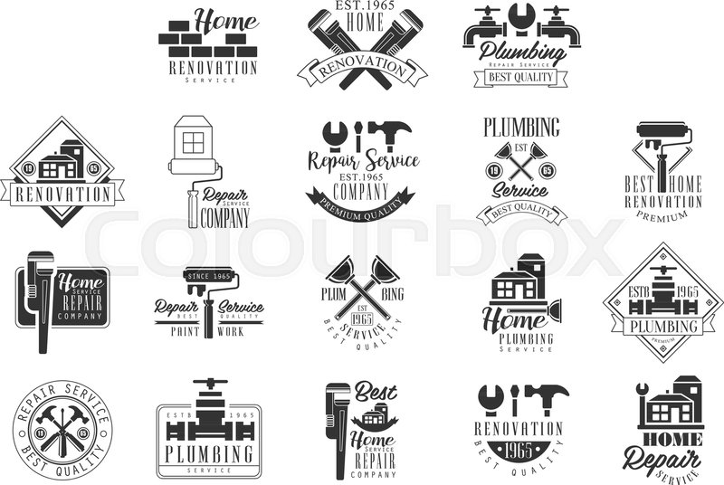 plumbing and repairing service black and white sign design templates with text and instrument silhouettes collection of monochrome vector emblems for