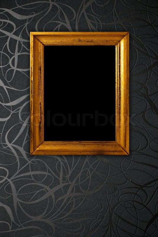 Gold Frame On Black Vintage Wallpaper Background Stock Photo