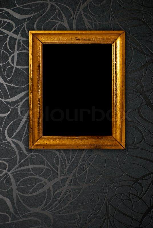 Gold Frame On Black Vintage Wallpaper Background Stock