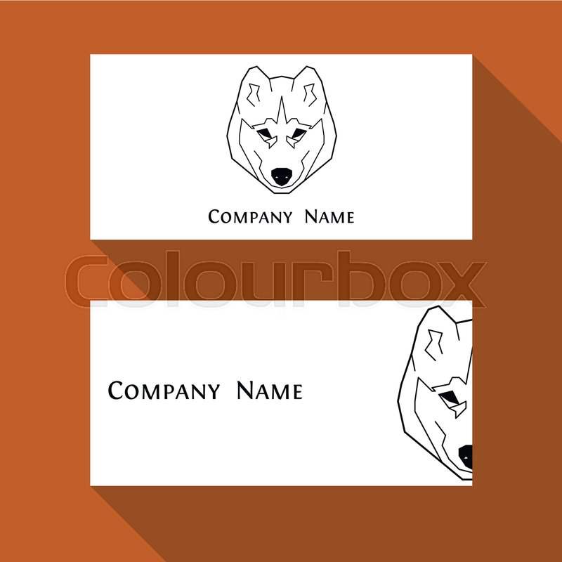 Husky dog business card in geometric modern style. Perfect logo ...