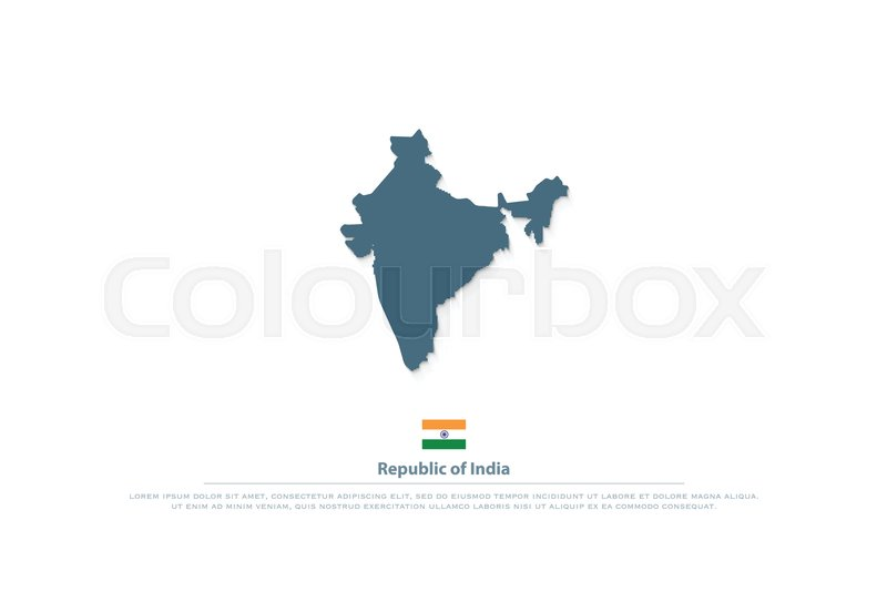 Republic of India isolated maps and official flag icon. vector ...
