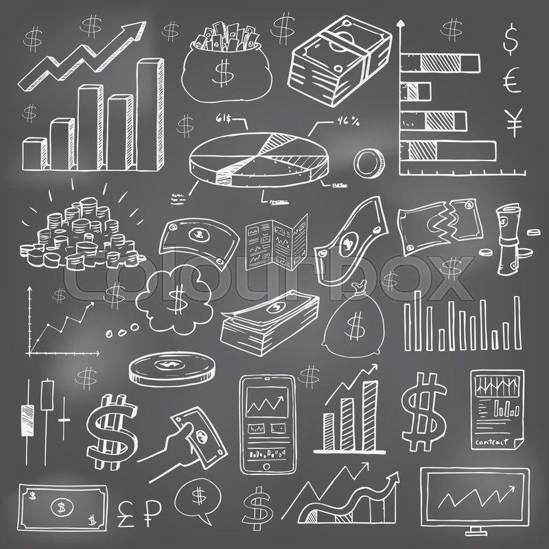 Stock Market Had Drawn Symbols And Icons On School Board Stock
