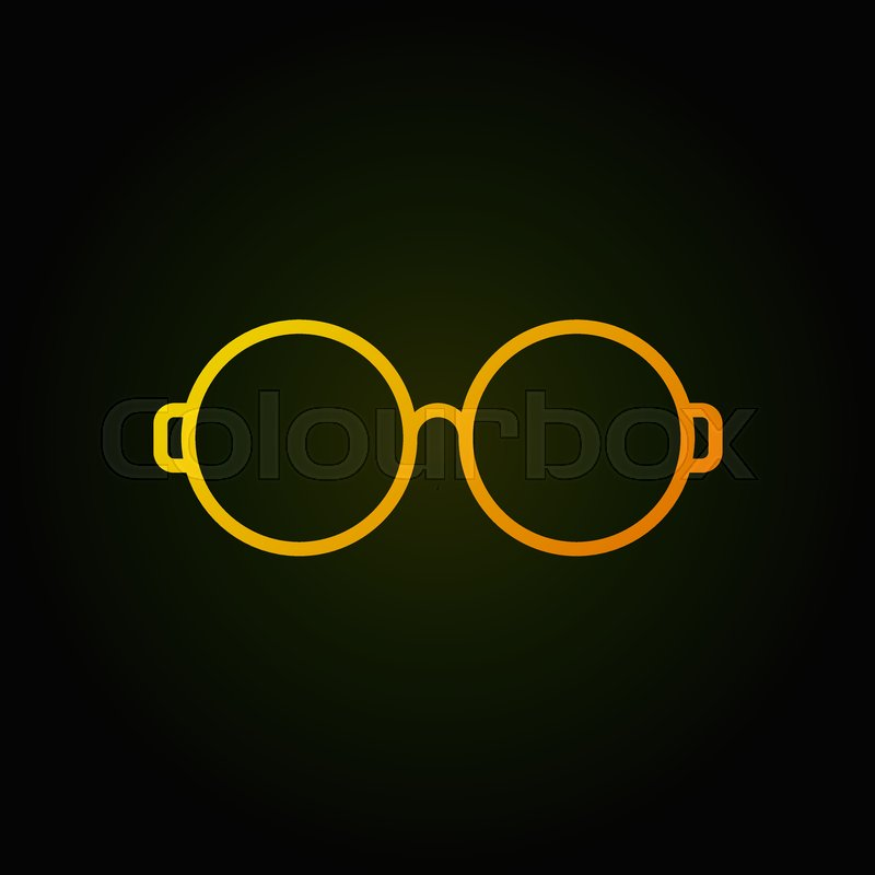 Round Glasses Yellow Line Icon Vector Simple Eyeglasses Symbol In