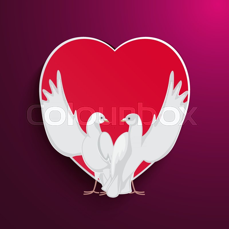 Two Doves Rise Wings Up On Background Of Red Heart Frame Purple