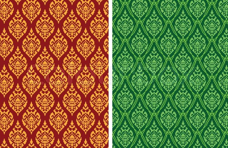 Seamless Thai Batik Pattern In Pixel Vector Art Design Stock Fascinating Batik Pattern
