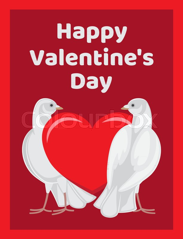 Happy Valentines Day Poster Two Doves Standing Near Red Heart