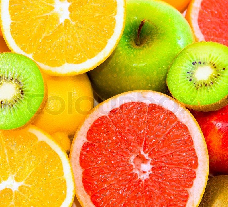 Große Auswahl an Früchten als Hintergrund  Stockfoto ...