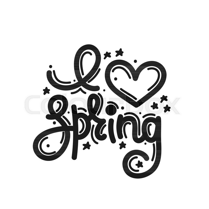 I love spring cute creative hand drawn lettering freehand style cute creative hand drawn lettering freehand style doodle letters with ornament springtime it can be used for card print on clothes banner poster altavistaventures Image collections