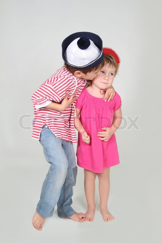 Stock image of 'Loving brother and sister studio shot'