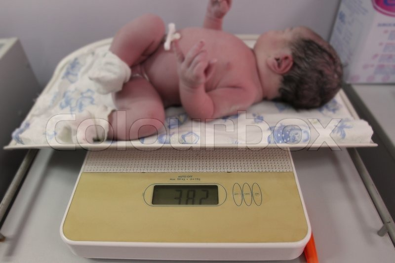 Newborn baby just after delivery | Stock image | Colourbox