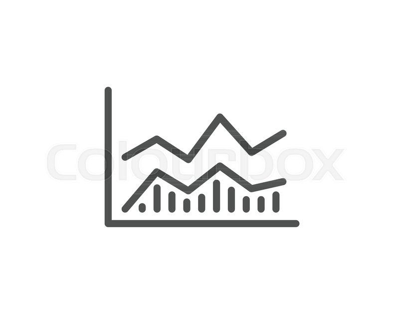 Line Chart Icon Financial Growth Graph Sign Stock Exchange Symbol
