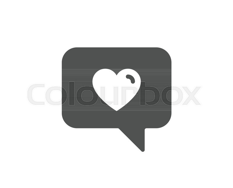 Heart In Speech Bubble Simple Icon Love Chat Symbol Valentines Day